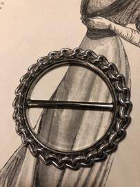 Gespen | Rond | Zilver | Gesp met versiering van schakeltjes (7) -  60s-70s