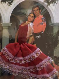 "Spanje | ROOD | Kaarten | Postcards | ""Flamenco  dansers Red Dress"": vrouw met rode jurk '80s MET enveloppe"
