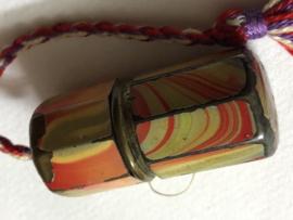 Naaldenkoker | Emaille & metaal | Antiek naaldenkokertje met marmer motief - jaren '20
