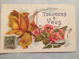 1908 - Antieke Carte Postale - Roos en bloemen  Toujours a Vous