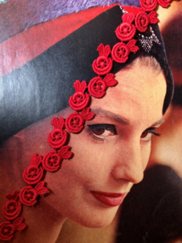 Band   Rood   Vintage roosjes sierband uit de jaren '60