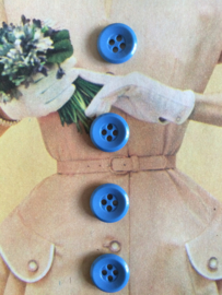Knopen |  Espolite | Licht blauw | vier gaatjes | 12 mm | zakje met 12 kleine plastic knoopjes