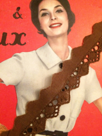 Band | Bruin | Vintage band chocolade bruin broderie met blaadje | katoen 2 cm - vintage