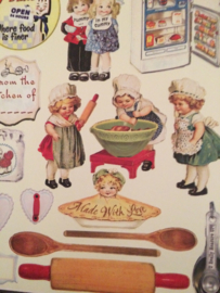 Velletje met leuke vintage stijl stickers met keuken afbeeldingen