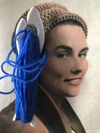 Breien | Vintage wit breivisje met blauw garen | 12 cm - jaren '60