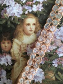 Kant | Roze | Vintage oranje-roze organza kant met bloemetjes  (1 cm)