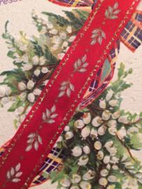 Lint - Rood folklore | blaadjes met gouden randje 1 cm | Nieuw