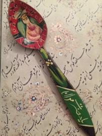 Houten Iraanse lepel met Sufi Rumi afbeelding | Folkart | vintage | jaren '40-'50