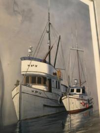 1982 | Originele prent van Bill McMurray met scheepjes in zachte grijsblauw tinten
