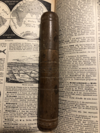 Naaldenkoker | Houten (eiken) (leer-)naaldenkoker - 1800-1850