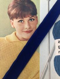 Band | Blauw | Vintage korenblauw fluweelband VELVALOUR 'Swiss Royal Blue Velvet'  (2 cm)