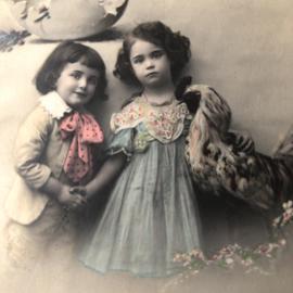Frankrijk | Pasen | 'Joyeuses  Paques' Fauvette: meisje en jongen in paaskleding (5-4-1912)