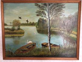 Schilderij | Vogels -  Landschap met zwanen en roeibootjes in het water  - olieverf op hout