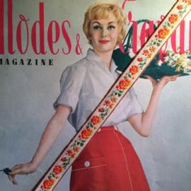 Vintage band | Oranje en gele bloemen | Katoen | 2 cm
