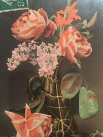 1908 - Antieke Carte Postale | Vaas met schitterende roze rozen