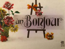 1920 | Groetjes | Briefkaart Vintage Postcard BC Paris 2105 | 'Un Bonjour' met rozen