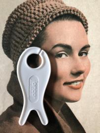 Breien | Vintage wit breivisje Jonco. De Jong & Co.  |  8 cm - jaren '30 - '60