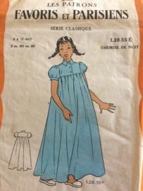 1940 | Favoris en Parisiens | Vintage naaipatroon kinder nachtjurkje, nachtjapon | 6-10 jaar | jaren '40-'50