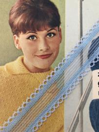 Band | Blauw | Vintage stukje lichtblauw lingerie band van kant (2 cm) 1.50 cm