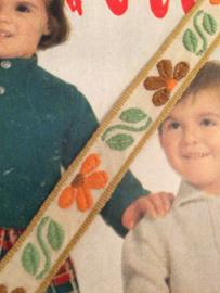 Vintage band | Créme met bruine en oranje bloemetjes en groene blaadjes 1 cm | '60s-70s
