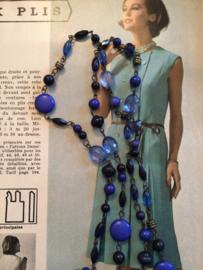Kralenketting | Blauw 48 cm. | jaren '80 - Vintage