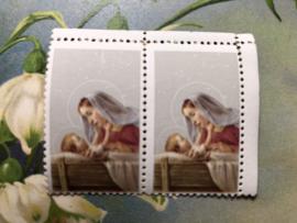 Onbekend | Religie | Plak (post-)zegel met afbeelding Jezus en Maria