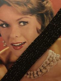 Band | Glitter | Zwart acryl  sierband met gouden glitters (2,5 cm)