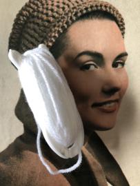 Breien | Vintage wit breivisje Jonco. De Jong & Co.  met wit garen |  8 cm - jaren '60