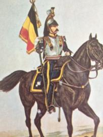 Verzamelkaart leger uniformen nr. 16  | België | Standaarddrager der kurasiers | 1860