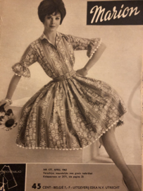 VERKOCHT | 1963 | Marion naaipatronen maandblad | nr. 177, april 1963 - met radarblad - badpakken - vintage jurken - mantelpakjes