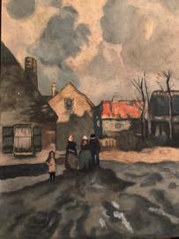 1900 | Tekening van verf met mensen in streekdracht Scheveningen