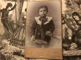 Foto | Jongens | Jongetje met prachtige kraag en shawl - Jules Pruvrez HUY ca. 1850-1860