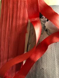 Biasband | Vintage zijdezacht rood/zalm band - 1.5 cm | jaren '60