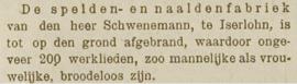 1889 | Speldenfabriek van Schwenemann te Iserlohn tot op de grond afgebrand