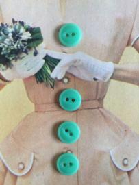Knopen | Espolite | Groen | 12 mm zakje met 12 vintage mint groene knopen (twee gaatjes) | jaren '50