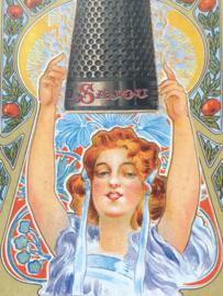 "Briefkaart | Maison Sajou ""vrouw met  vingerhoedje"" | #haberdashery #fournituren #vingerhoedje"