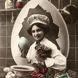 Briefkaarten | Pasen | 'Joyeuses  Paques' 341 Paris: jonge vrouw met koksmuts, eieren in keuken (1900-1910)