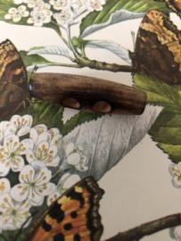Knopen | Bruin | 42 mm - Houten gebrand houtje touwtje knoop jaren '20 - 2 gaatjes