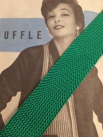 Band | Groen | Vintage groen op fournituren kaart, zijdeachtig  - 2 cm (ca. 1.25 meter)