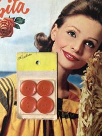 Knopen | Roze-rood 20 mm 'Paris Selection' knopenkaartje met 4 knopen 2 gaatjes | jaren '50