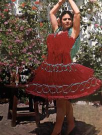 "Spanje | ROOD | Kaarten | Postcards | ""Flamenco  dansers Red Roses Dress"": vrouw met rode jurk '80s ZONDER enveloppe"
