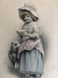 1923 | Frankrijk | Meisje met een lammetje en een kommetje melk