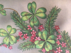 """1951 - Vintage Vrolijke prentenkaart """"klavertjes en bloemen"""""""