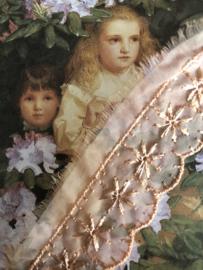 Kant | Roze | Vintage oranje-roze organza kant met bloemetjes (2 cm)