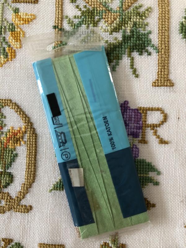 Band | Groen | Biaisband | Licht groen | 2 cm | 100% katoen | IKO  - naadloos en kleurecht - wasbaar tot 95 ℃ - VINTAGE