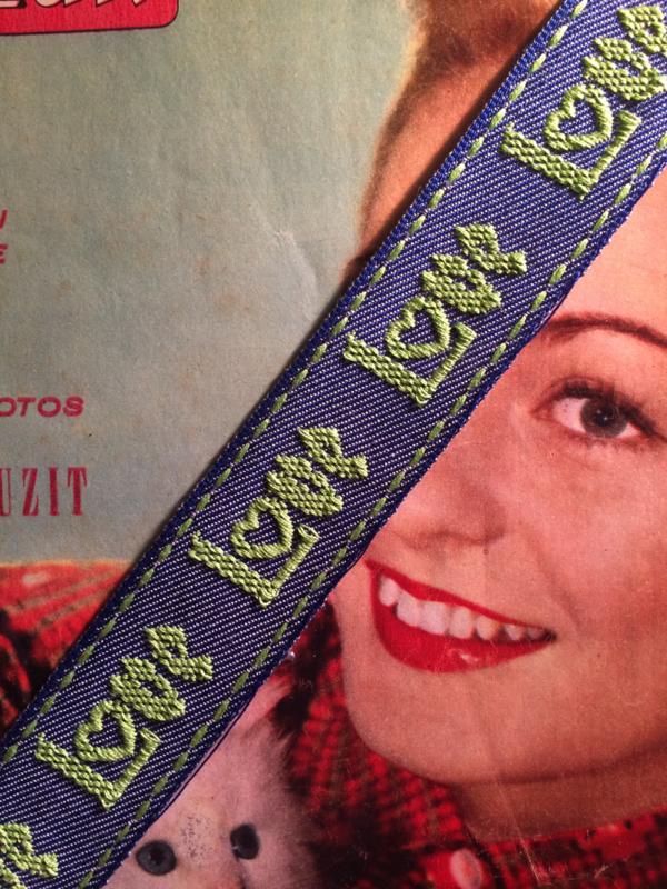 "Vintage band | Blauw Jeans ""Love"" groen | Katoen 3 cm | '80s"