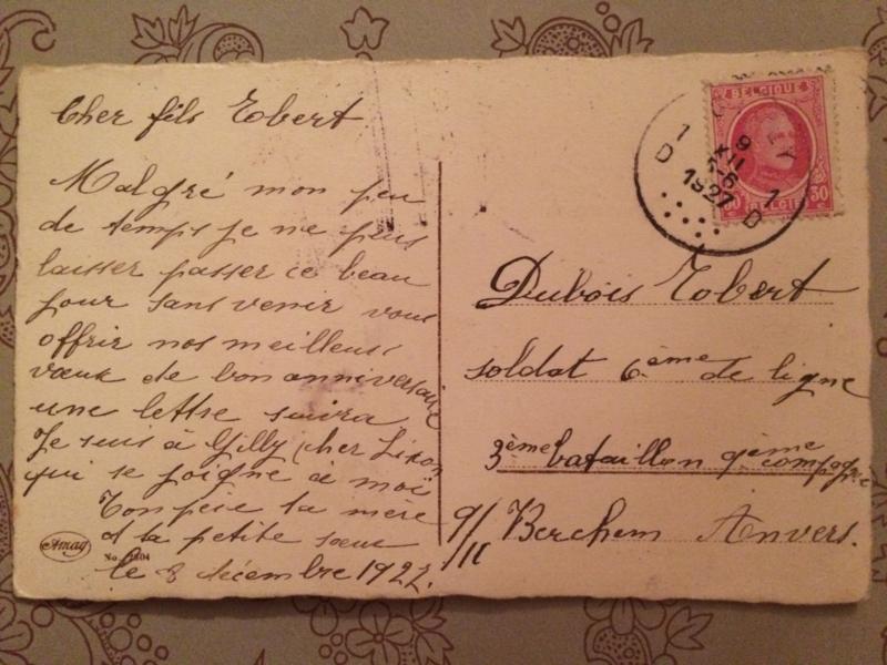 1927 - Verjaardag | antieke briefkaart Lente bloesem 'Hereux Anniversaire' lieve zoon