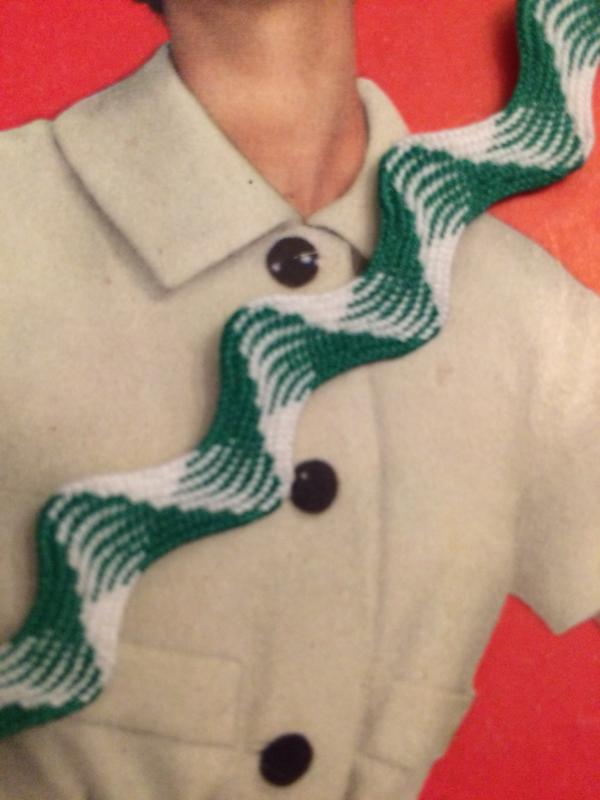 Vintage band | Groen met wit zigzag band licht glanzend | Katoen | 1 cm