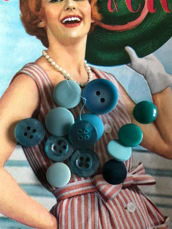 Knopen | Groen | 10-20 mm Zakje met vintage (mint-) groene knopen | jaren '50