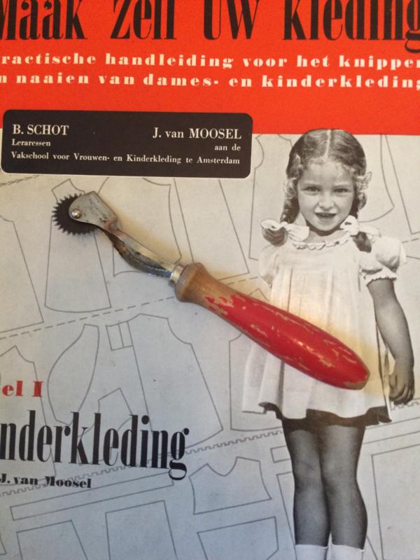 "Vintage mooi sleets brocante stijl radeerwieltje ""rood""| jaren '60"